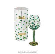 Green Pretty Lucky Clover Wine Glass with Diamond