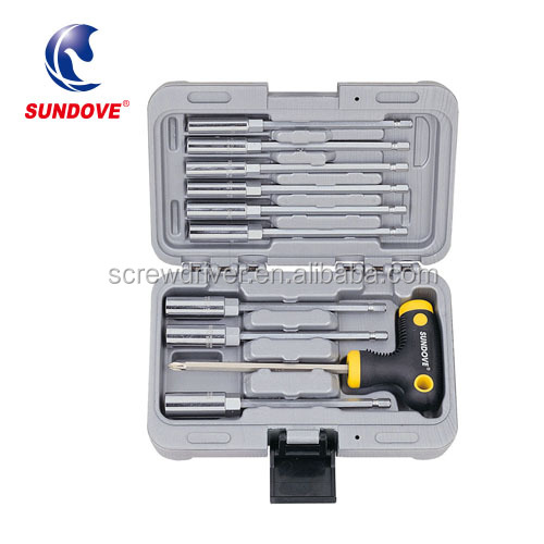 10pcs Quick Convert T-handle Nut Drivers Universal Screw Driver Set Tool Box