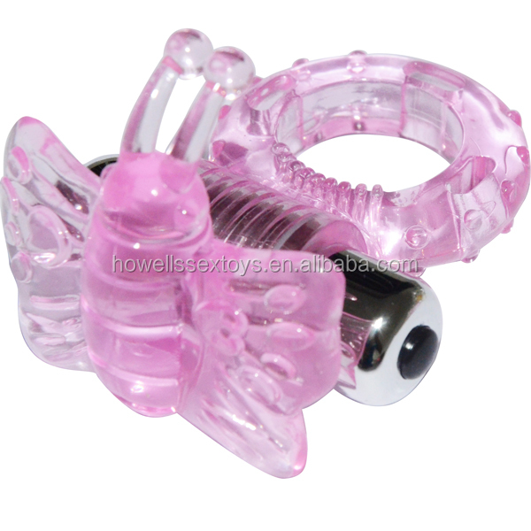 Butterfly Vibrating Electric Cock Ring , Ejaculation Delay Vibrating Ring