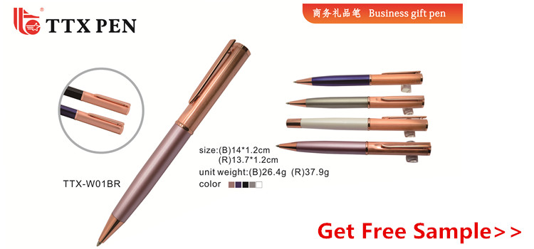 Promotion Rose Gold Metal Ball Pen Gift Heavy Pen with Custom Logo