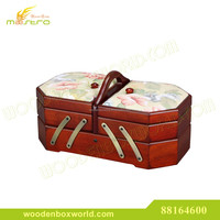 Wooden Fabric Cantilever Folding Accordion Sewing Box