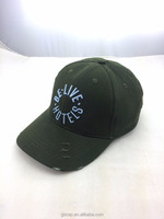green promotion high quality cotton OEM/custom baseball cap 3d embroidery