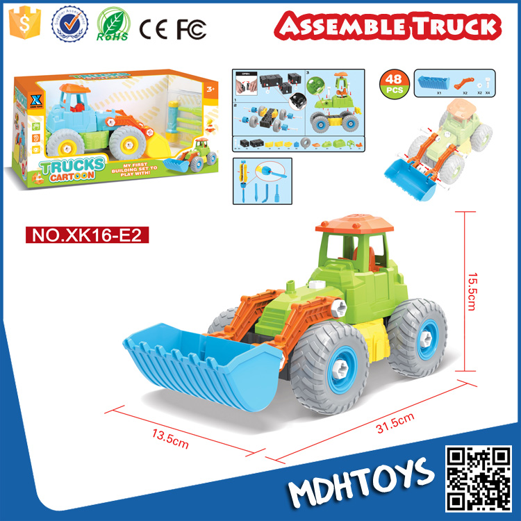 Kids self assemble toys construction truck free wheels diy educatinal toy CE