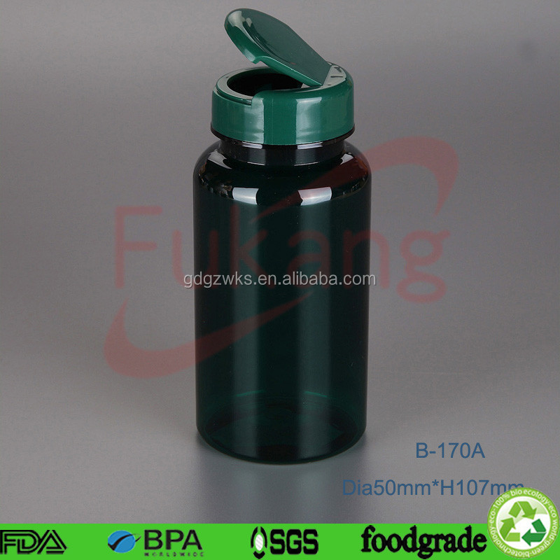 170cc green PET plastic pharmaceutical container and bottle packaging apple cider vinegar tablets with flip cap