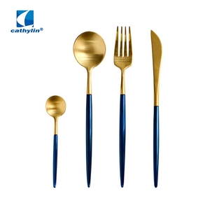 Cathylin luxury gold plated blue handle stainless steel cutlery set, inox flatware