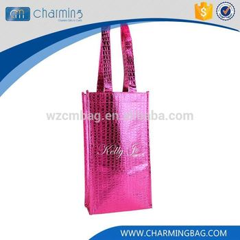 Top fashion simple design red handles embossing non woven bags
