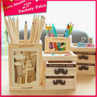 high quality office organizer stationery from china,2016 top sale funny beard design wood pencil holder/newest pen container