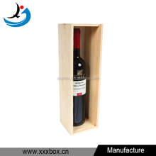 Single Bottle Spirited Shipper Wood Wine Box With Sliding Wood Lid