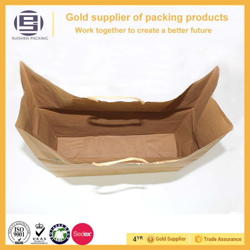 Customized hot sales large capacity kraft paper bags for shopping,bags with paper handle