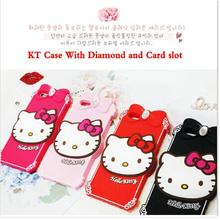 Factory Wholesale 2015 Newest 3D Lovely Cute Cartoon Hello Kitty Soft Rubber Silicone diamond Case Cover For iphone 5 5s