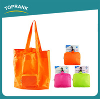 Toprank Promotional Colorful 190T Polyester Printed Travel Foldable Shopping Bag