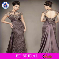 New Style Sheath Lace Appliqued Satin Matron Of Honor Dresses For Evening