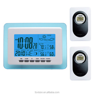 Digital LCD Display Thermo-hygrometer wifi Weather Station Clock Wireless Weather Station with 2 sensors