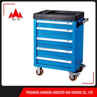 Jinhua auto mechanic 5 drawers kitchen cabinet 196pcs tools mobile trolley cart
