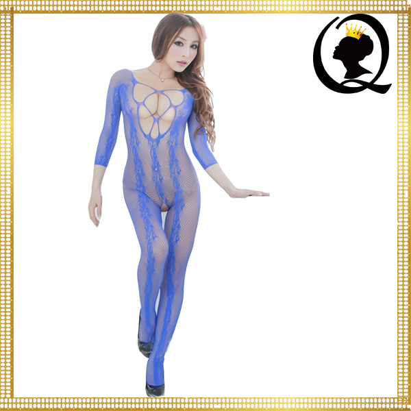 High Quality Girl Sexy Image Lingerie Off Shoulder Long Sleeved Sexy Sheer Bodystocking