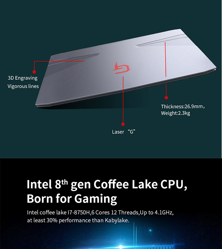 BBEN New 15.6 inch Coffee Lake H  i7-8750H  GTX 1050 Ti  8 gb ram 256g ssd 1tb hdd  gaming laptop