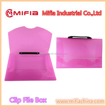 Customized colorful legal size report plastic clip file box folder with handle