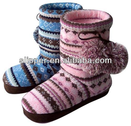 Pompom opular cheap women knit boots