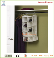 10 pockets fabric shoe rack closet organizer