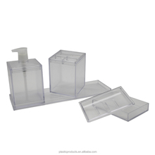 new arrival plastic 3 in 1 bathroom set with tray ,3 pcs clear bathroom set