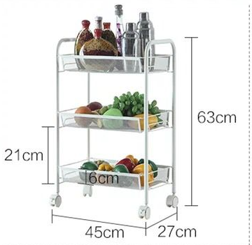 Mesh Wire Rolling Cart Multifunction Utility Cart Kitchen Storage Cart on Wheels, Steel Wire Basket Shelving Trolley Easy Move