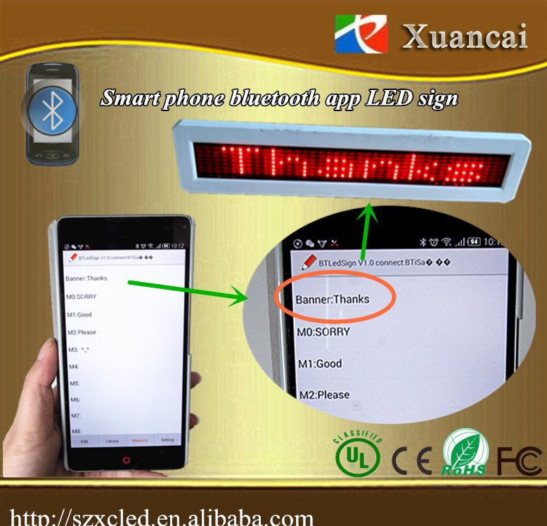 Bluetooth app android phone edit/calling operation led bluetooth message display sign