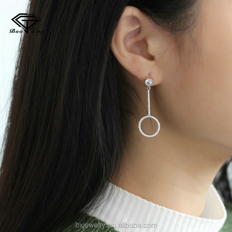 Wholesale suppliers beautiful fine silver cubic zirconia asymmetrical earring