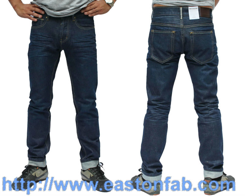 Red selvage slim fit men Jeans