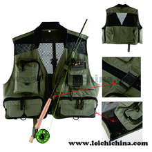 Gray color waterproof numerous pockets fly fishing vest