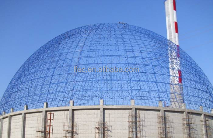 Long Span Prefab Light Type Steel Space Frame Arched Coal Storage Cover