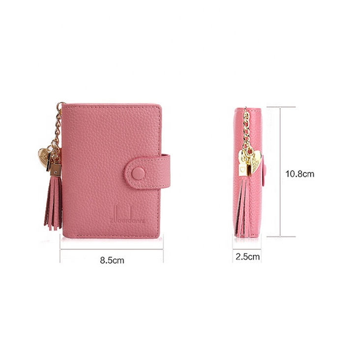 Women Tassel Zipper card holder Short Leather card holder wallet with PVC inner page