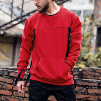 High Street Men Hip Hop Clothing Removable Braid Mens Custom Sweatshirt Without Hood