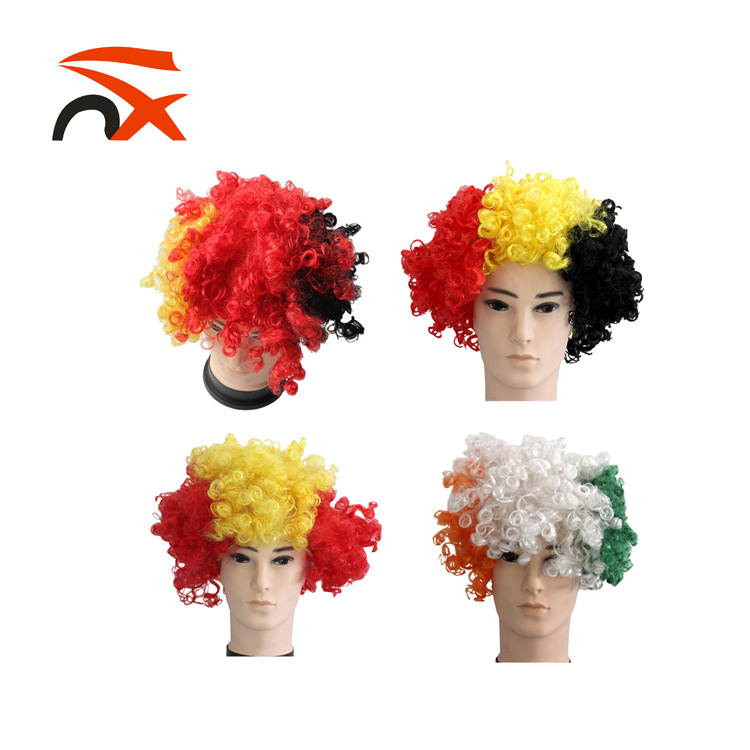 Wholesale Hot Selling Synthetic Football Sport Fans Wig For Cheering