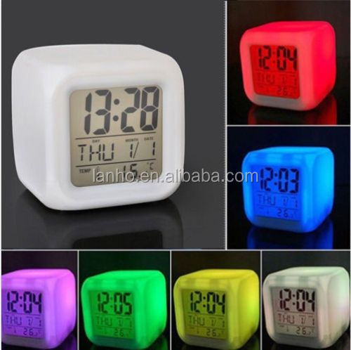 New LED 7 Color-Change Digital Calendar Alarm Thermometer Snooze Cube Desk Clock