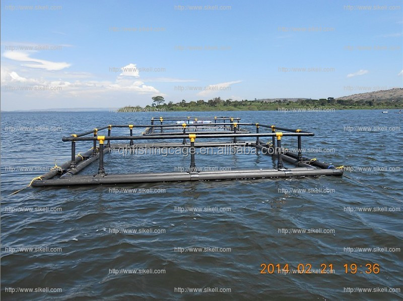 HDPE floating cages for tilapia and catfish fish farms in Africa