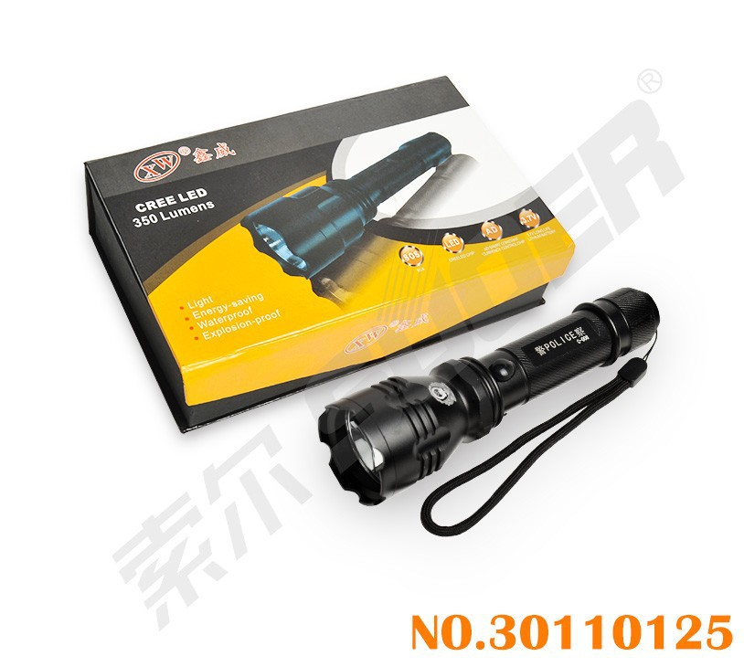 350 Luments LED Bright Light Torch 3.7V Rechargeable Flashlight