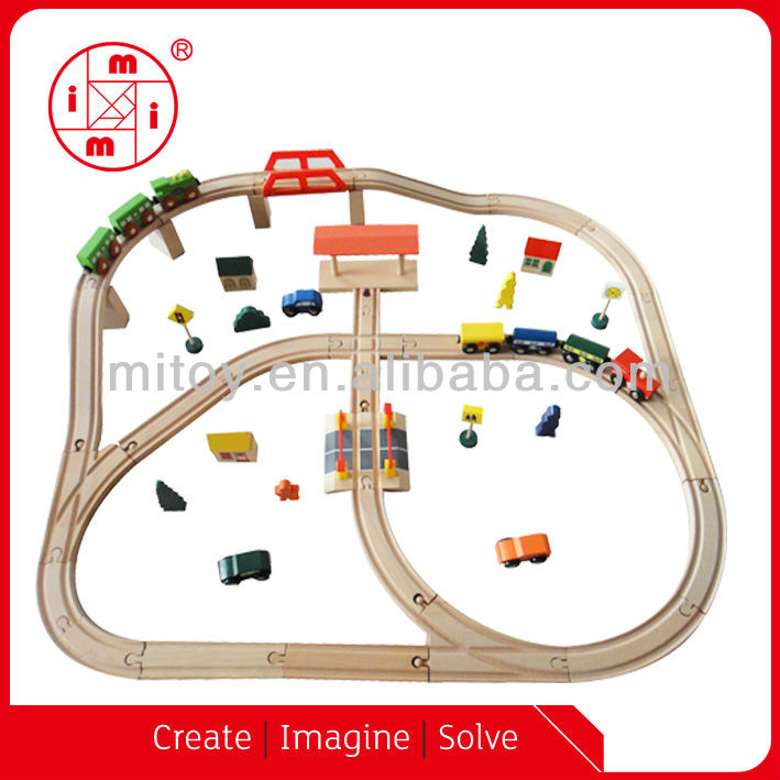 hot sale toy Wooden railway train set from ICTI factory