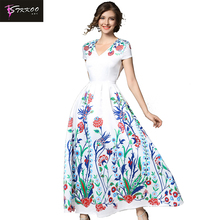 Europe and America Women Fashion Elegant Maxi Dress Short Sleeve V Neck Slim Waist Flower Print Pleated Long Party Dress