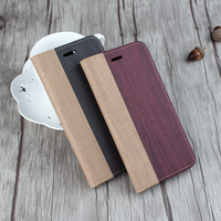 5.5 inch Wallet PU Leather Wooden Flip Folio Case with Strong Magnetic Wood Grain Protective Cover for iPhone 7 Plus