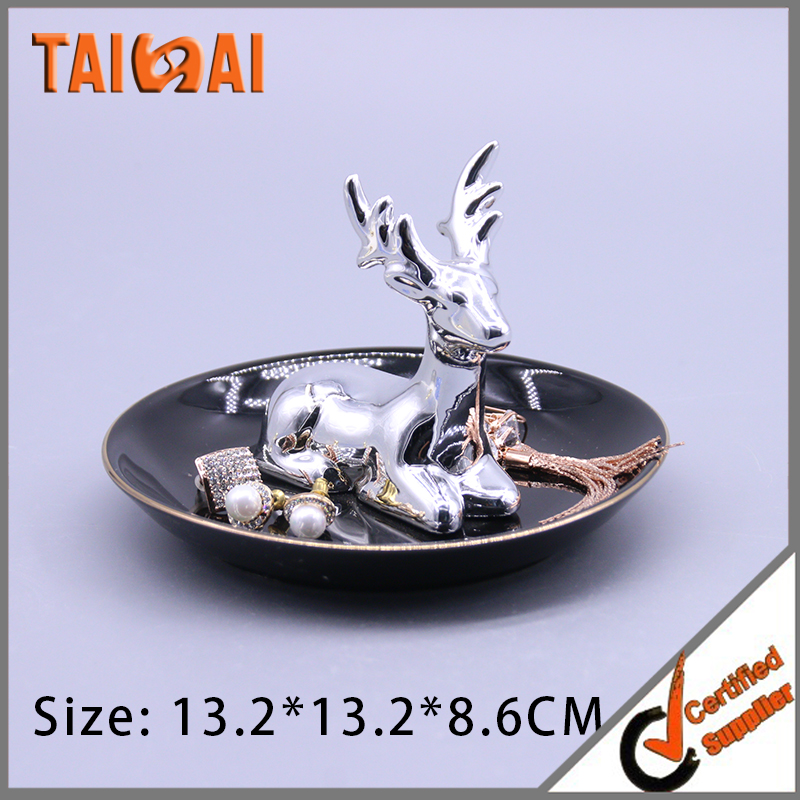 Silver Pachy Deer Earthenware Ceramic Ring holder plate/ Jewelry tray