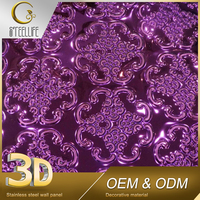 Decorative Purple Pressed Metal Wedding Ceiling Stretch Ceilings 3D
