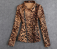 2016 new style fashion ladies suit jacket for woman slim fit leopard blazer