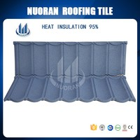 Nuoran waterproof 0.4mm steel low cost asphalt blue shingle roof tiles