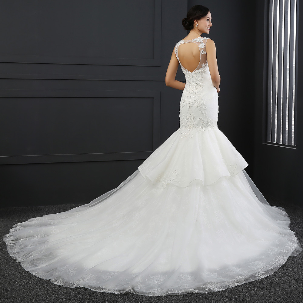 Q-028 Sexy Open Back Beaded 2016 Mermaid Lace Wedding Dress