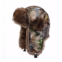 men women winter Russian style camouflage real tree trapper hat