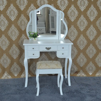 New design antique white wooden dressing table french style furniture wood antique vanity table