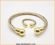 Wonderful Gold bead cap cuff design 316l metal finger ring and stainless steel bangle adjustable ,twist cable bangle wholesale