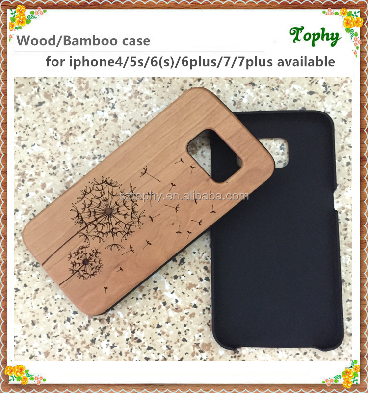 For iphone 7 flower pattern wood back cover made in china, for samsung s7 wooden phone cases