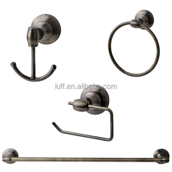 Luxury design antique brass bathroom accessories set 4pcs towel ring paper holder robe hook towel bar