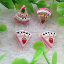 High Quality 15mm Pink Flat Back Cabochons Resin Fake Cakes Kawaii Food Crafts for Jewelry Making